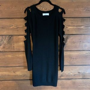 Cut Out Sleeve Sweater Dress